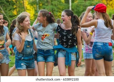 "A group of girls Teens walking in the Park.  Children's camp ""Berezka"". Editorial. Russia. Yaroslavl region. 23.06. 2016"