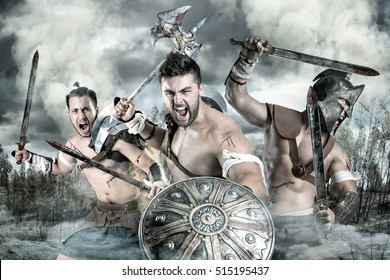 Group of gladiators/warriors ready to fight