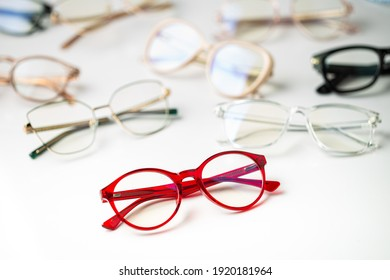 group of glasses in white background