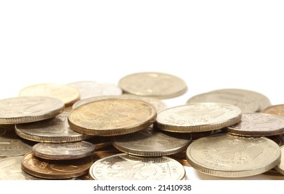 Group of gold coins isolated over white background