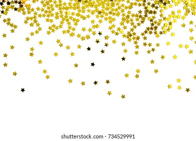 Group of gold star decoration christmas happy new year isolated on white background object design on top view