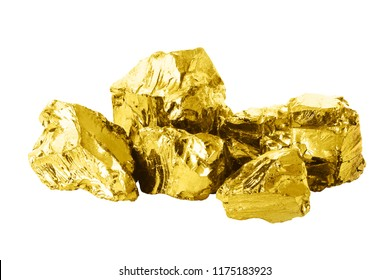Group of golden bars isolated on white background close up. Shining golden nuggets isolated on white background