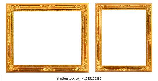GROUP of GOLDEN FRAMES ISOLATED ON WHITE BACKGROUND. GOLD FRAME.