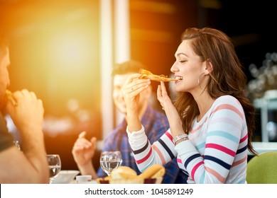 Group of good looking people having brunch
