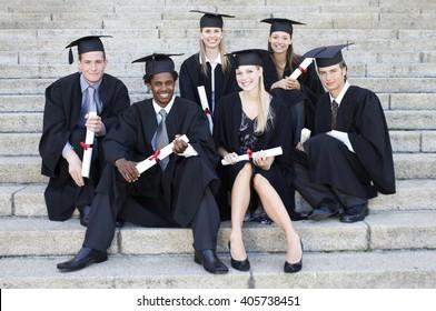 A group of graduates celebrating