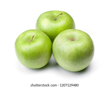 Group of green apples isolated on white background