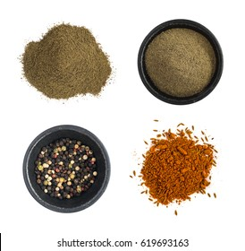 Group of Ground Black Pepper and Red Spice Mix Isolated on White Background Top View