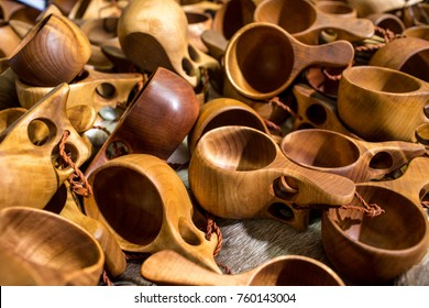 A Group Of Guksi Or Kuksa Drinking Cups Hand Crafted From Carved Birch Burl By The Sami People Of Finland In Lapland Northern Scandinavia . Selective Focus