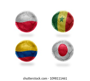 group H . realistic football balls with national flags of poland, senegal, colombia, japan. soccer teams. 3D illustration