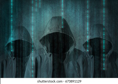 Group of hackers at work with graphic user interface around