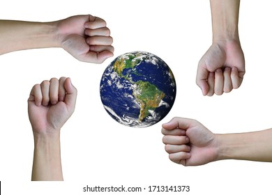 Group of hand and fist.There is a globe in the middle. on white background,success and winning concept.