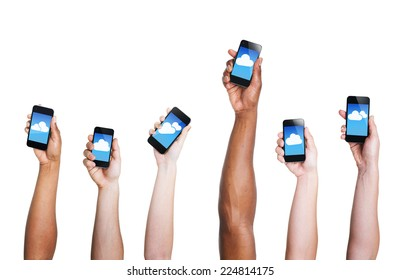 Group of Hand Holding Digital Devices with Cloud Symbol