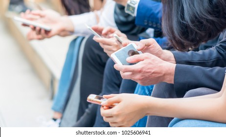 group of hand with smartphone