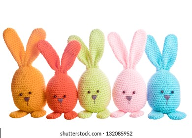 group of handmade stuffed animal easter bunnys