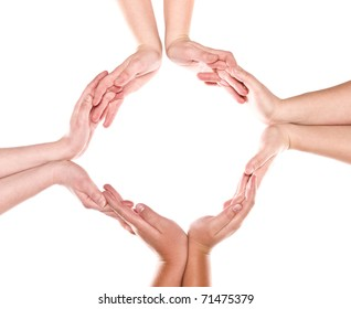Group of hands forming a circle isolated on white background