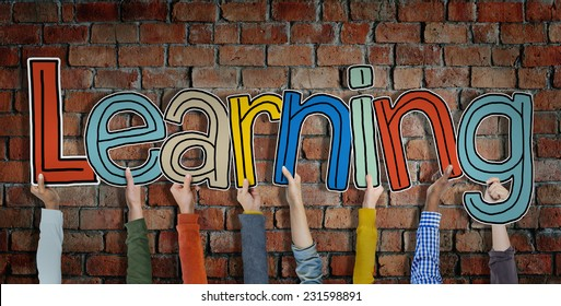 Group of Hands Holding Learning Word Concept