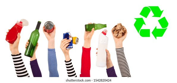 group of hands up and holding recycling trash