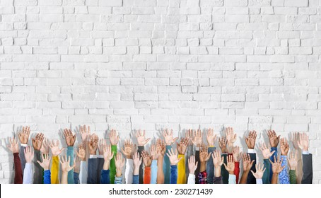 Group of Hands Raised and Background