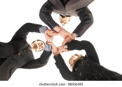 Group handshake with a lot of different hands (FOCUS ON HANDS)