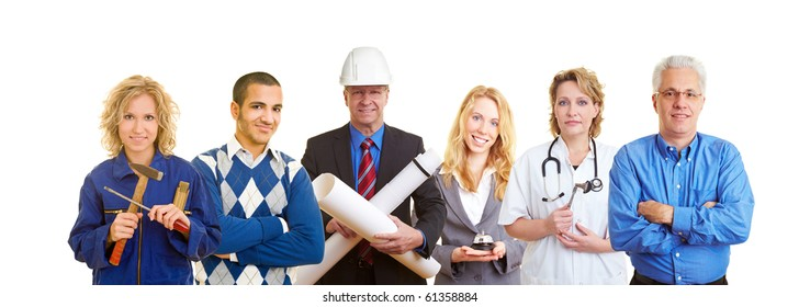 Group of happy business people with different occupations