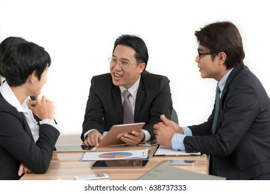 Group of happy business people in a meeting room