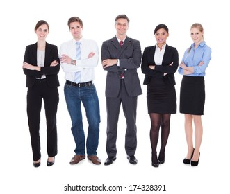 Group Of Happy Business People Standing In Pose Over White Background