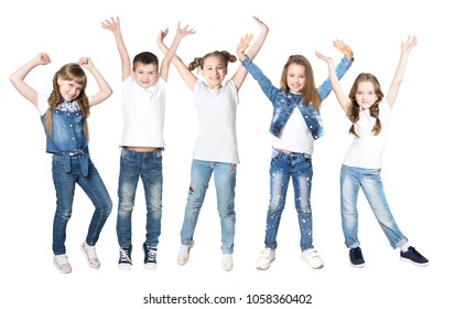 Group happy children  friends with their hands up on a white background