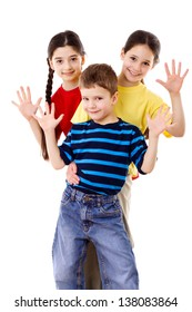 Group of happy children with greeting sign, isolated on white