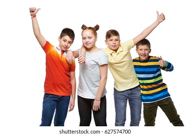 Group of happy children with hands up and thumbs up sign, isolated on white