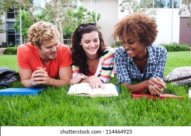 group of happy college students lying in the grass with notebooks