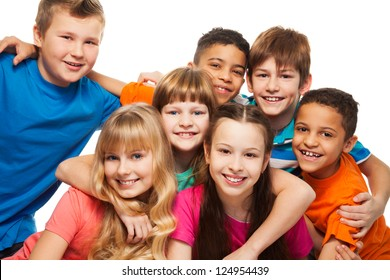 Group of happy diversity kids smiling  and laughing Caucasian and black kids