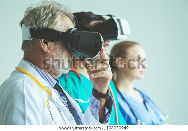 Group Happy Doctor Surgeon Nurse Vr Stock Photo (Edit Now