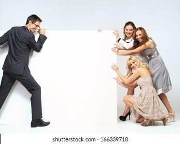 Group of happy elegant friends