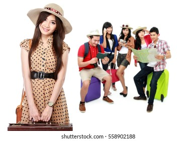 group of happy excited traveler. summer vacation concept