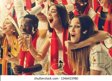 Group of happy fans are cheering for their team victory. Collage made of 8 models.