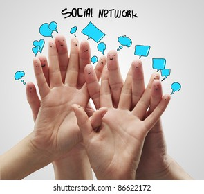 Group of happy finger smileys with social chat sign and speech bubbles.Isolated on a gray background