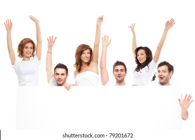 group of happy friends advertising blanck banner