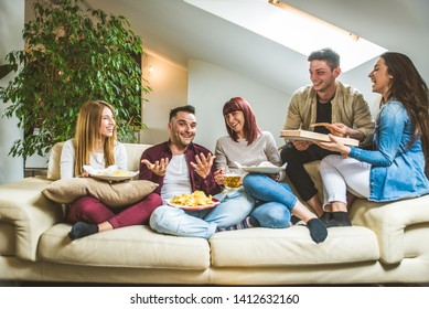 Group of happy friends bonding at home - Young adults having party and doing various activities