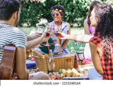 Group of happy friends cheering glasses of red wine at pic nic barbecue in garden - Young people having fun during a weekend day - Youth lifestyle concept