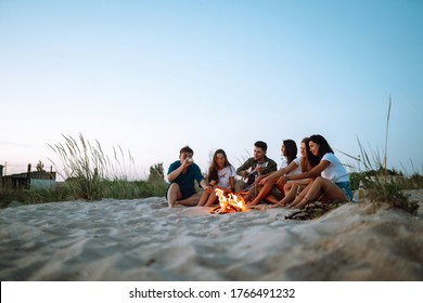 Group of happy friends frying sausages on campfire at the beach. A company of young people came together for a barbecue.