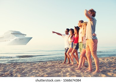 Group of happy friends having fun at ocean beach. Travel with cruiseship concept