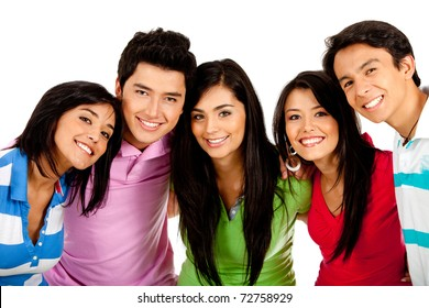 Group of happy friends smiling ? isolated over a white background