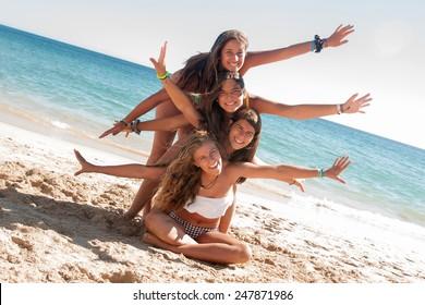 On beach teens the Two teens