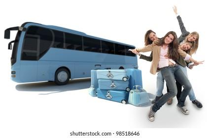 A group of happy girls celebration a coach trip