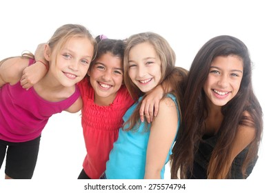 group of happy girls on white background