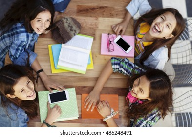 Group of happy girls studying