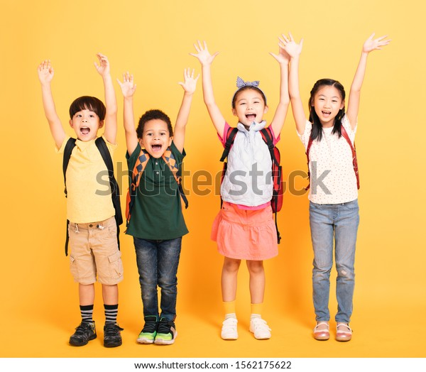 Group of happy kids celebrating and yelling