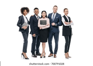 group of happy multiethnic businesspeople in formal wear, isolated on white