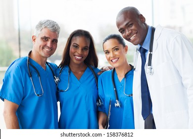 group of happy multiracial medical team in hospital