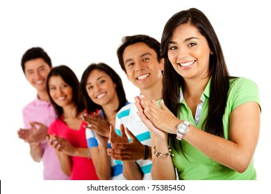 Group of happy people applauding ? isolated over a white background